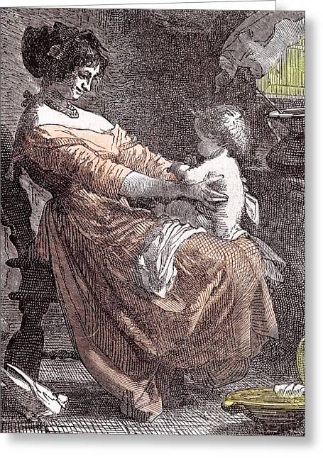 Mother And Child Greeting Card by Dutch School
