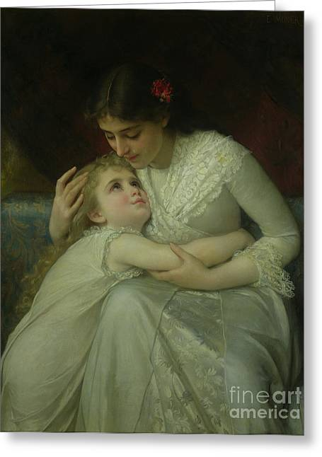 Mother And Child Greeting Card by Emile Munier