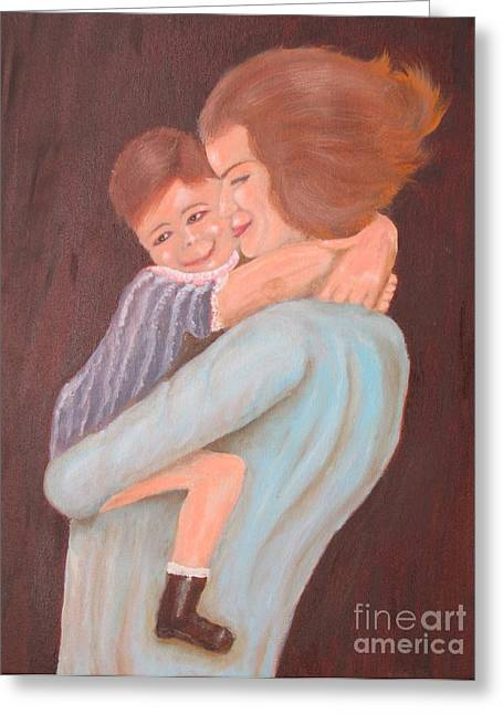 Mother And Child - Original Oil Painting Greeting Card by Anthony Morretta