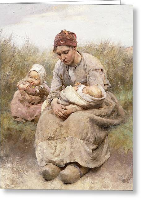 Mother And Child Greeting Card by Robert McGregor