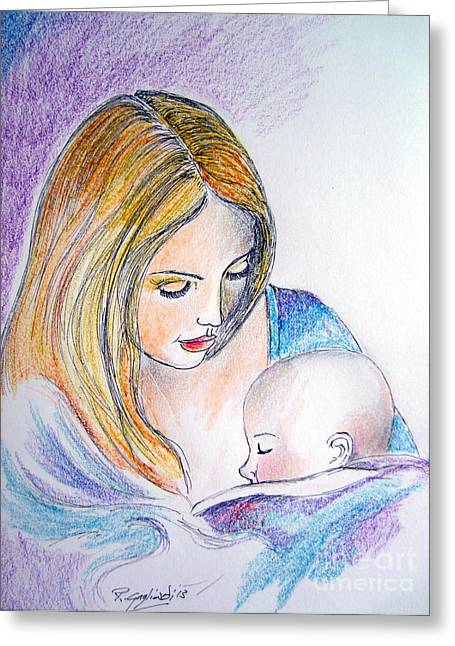 Mother And Child Greeting Card by Roberto Gagliardi