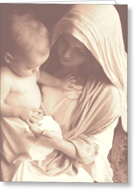 Madonna And Child Greeting Card by Vienne Rea