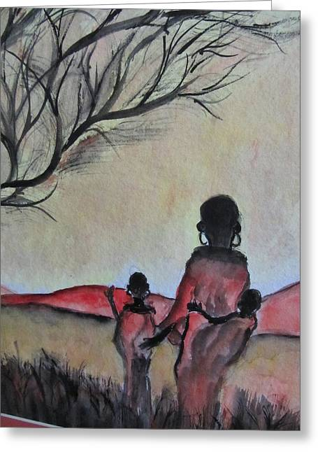 Mother And Children Walking In Kenya Greeting Card