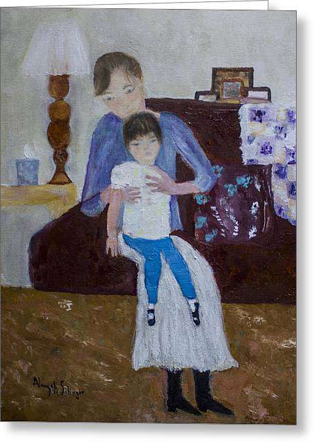 Greeting Card featuring the painting Mother And Daughter by Aleezah Selinger