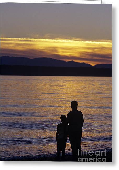 Mother And Daughter Holding Each Other Along Edmonds Beach At Su Greeting Card