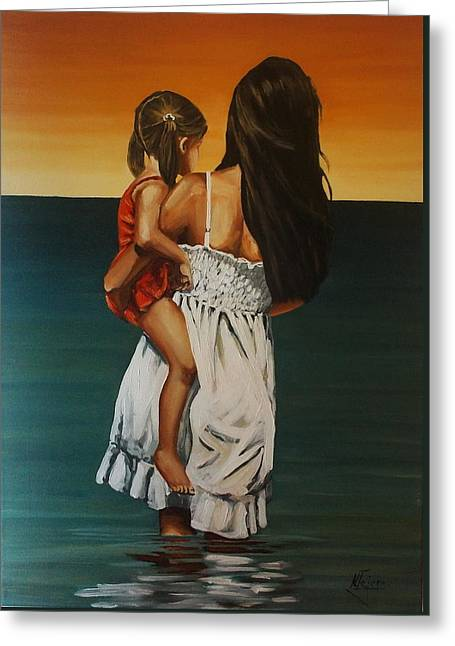 Mother And Daughter II Greeting Card by Natalia Tejera