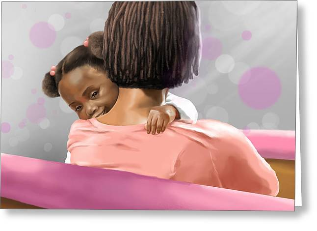 Mother And Daughter In Church Greeting Card
