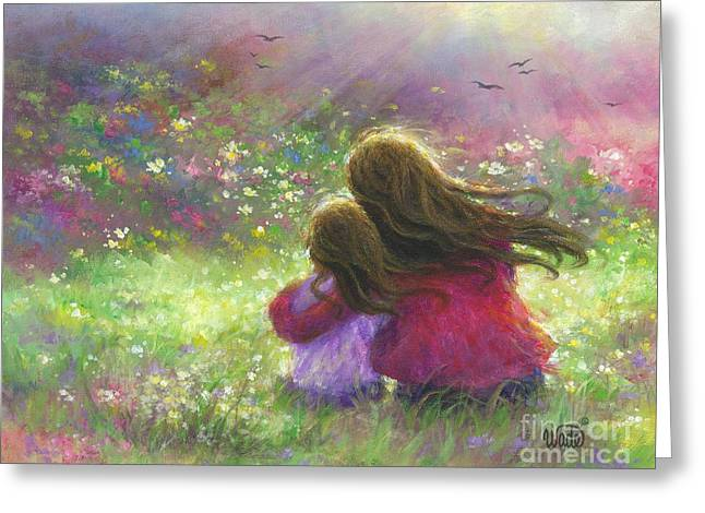 Mother And Daughter In Garden Greeting Card by Vickie Wade