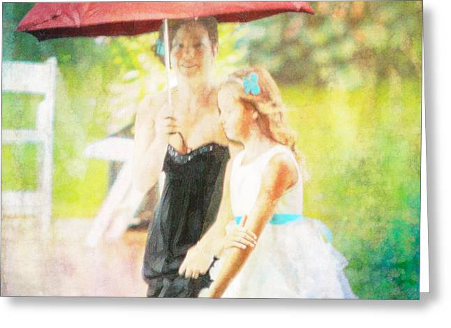 Mother And Daughter In The Garden Greeting Card