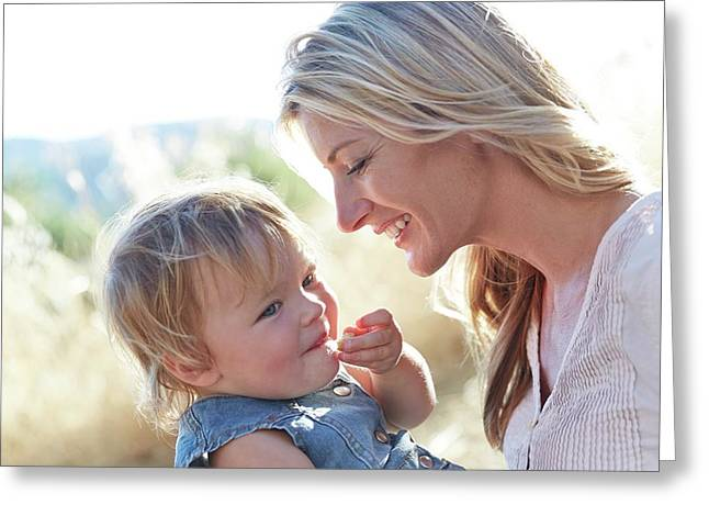 Mother And Daughter Laughing Greeting Card