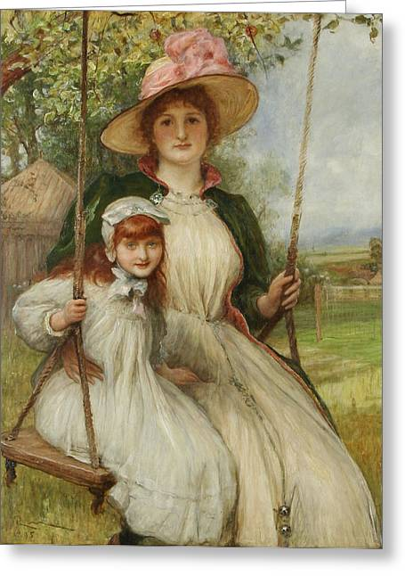 Mother And Daughter On A Swing Greeting Card by Robert Walker Macbeth