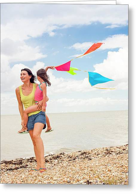 Mother And Daughter On Beach Greeting Card