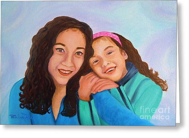Mother And Daughter Greeting Card by Pauline Ross