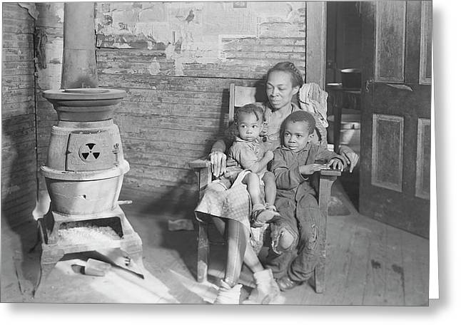 Mother And Her Two Children Sitting Greeting Card