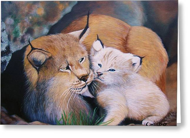 Mother And Kitten Bobcat Greeting Card