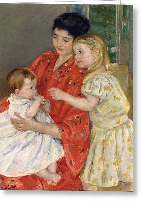 Mother And Sara Admiring The Baby Greeting Card by Marry Cassatt