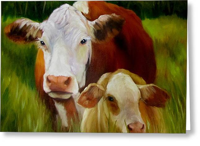 Mother Cow And Baby Calf Greeting Card by Cheri Wollenberg