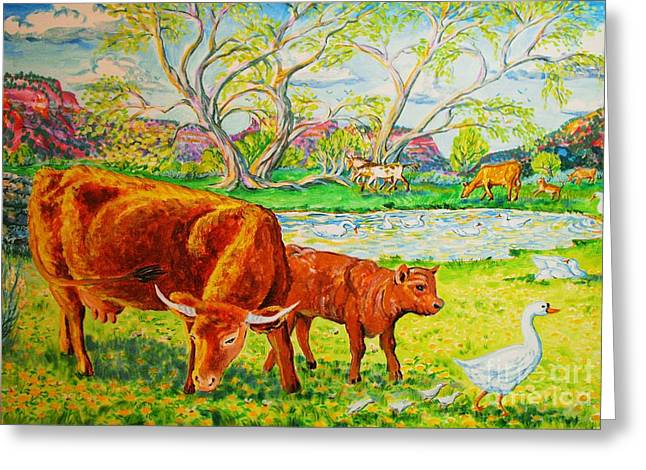 Mother Cow And Bull Calf Greeting Card by Annie Gibbons