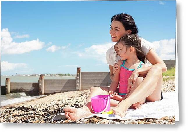 Mother Daughter On Beach Greeting Card by Ian Hooton