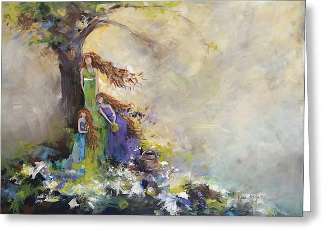 Mother Daughter Picnic Greeting Card by Karen Ahuja