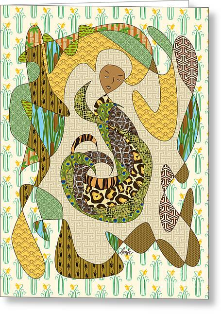 Mother Earth Greeting Card by Beverly Claire Kaiya