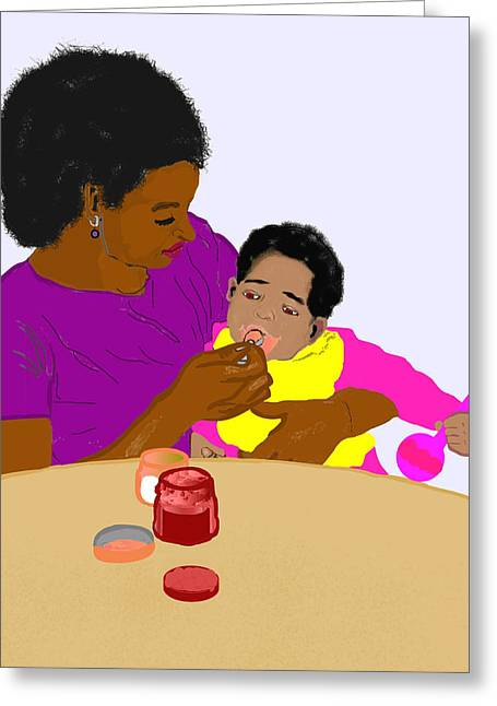 American Food Drawings Greeting Cards - Mother Feeding Her Baby Greeting Card by Pharris Art