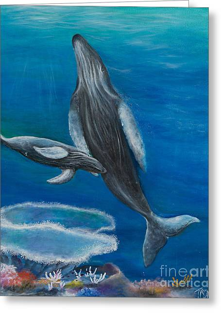 Mother Humpback And Her Calf Greeting Card by John Garland  Tyson