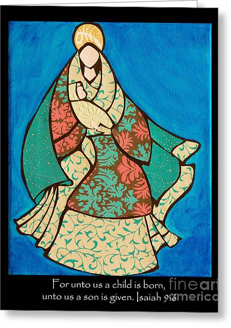 Mother Mary And Baby Jesus Greeting Card