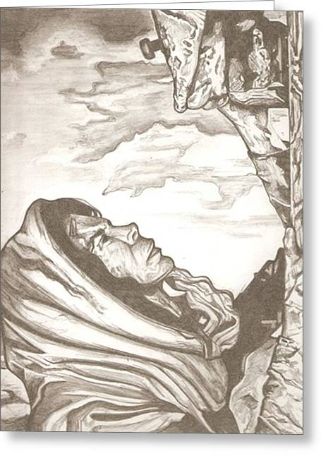 Mother Mary Drawing Greeting Card by Robert Crandall