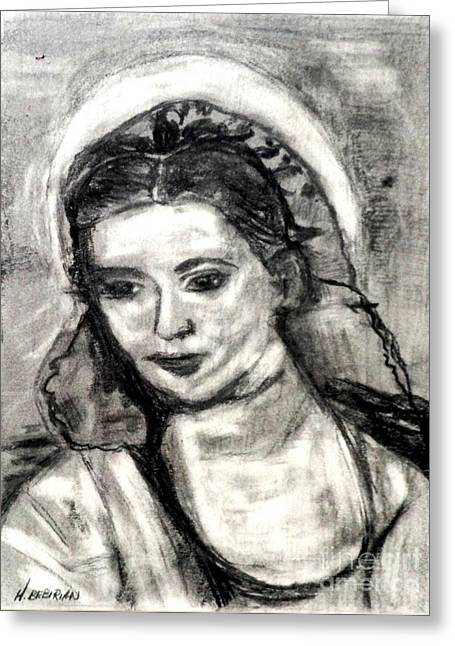 Greeting Card featuring the painting Mother Mary-let It Be by Helena Bebirian