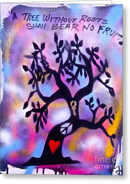 Mother Nature Tree Pink Greeting Card by Tony B Conscious
