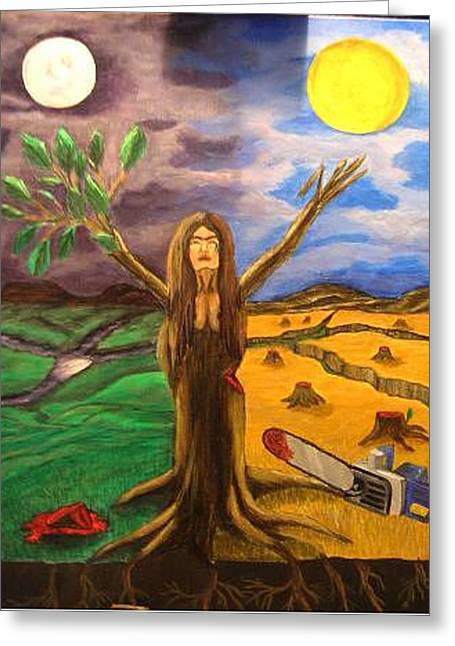 Greeting Card featuring the painting Mother Natures Last Stand by Kristen R Kennedy