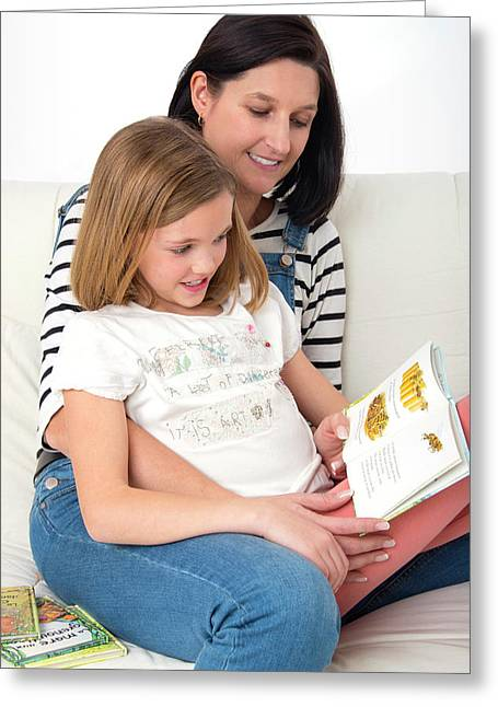 Mother Reading Book With Daughter Greeting Card