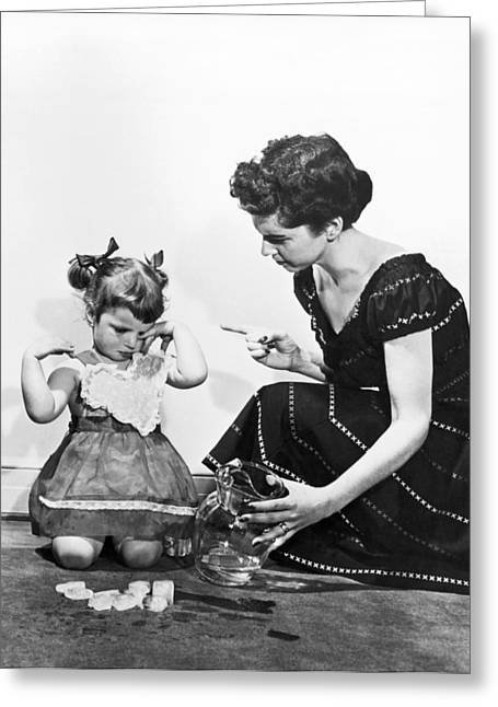 Mother Scolding Tearful Child Greeting Card by Underwood Archives