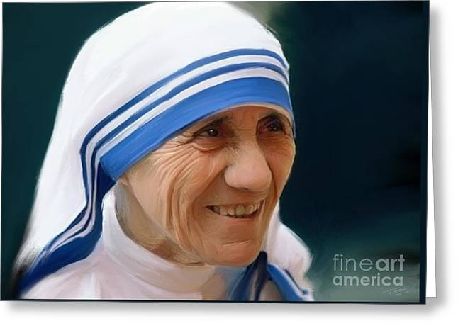 Mother Teresa Greeting Card by Paul Tagliamonte