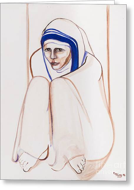 Mother Theresa Sitting Greeting Card