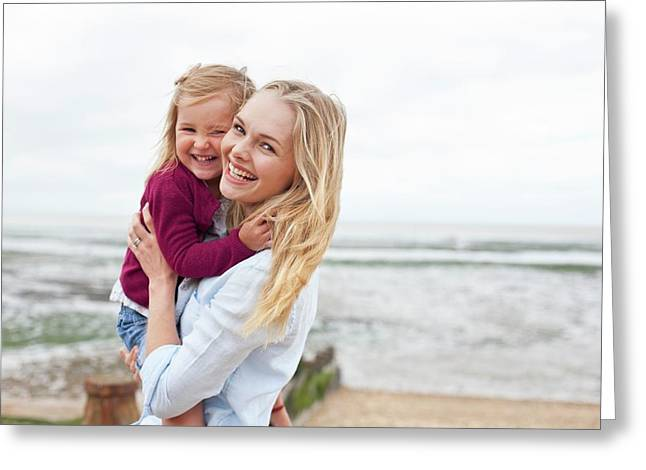 Mother With Daughter On Beach Greeting Card