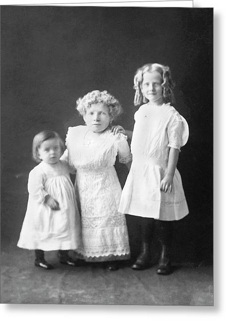 Mother With Dwarfism With Daughters Greeting Card by American Philosophical Society