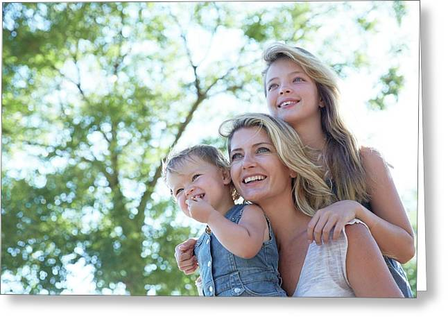 Mother With Her Two Daughters Greeting Card
