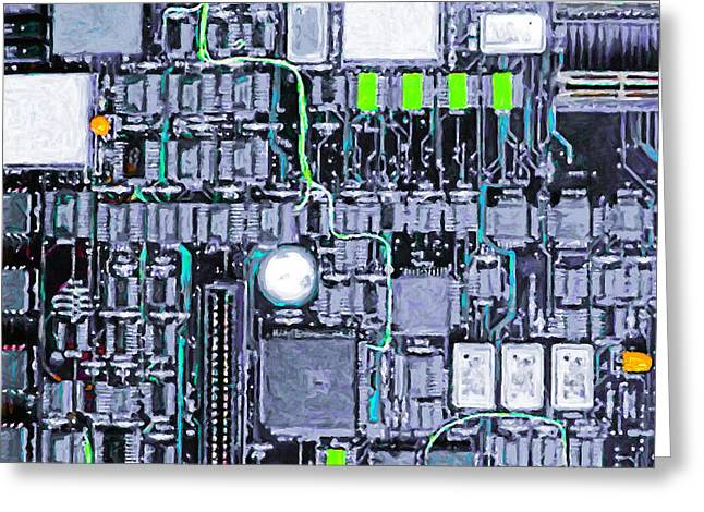 Motherboard Abstract 20130716 P38 Square Greeting Card by Wingsdomain Art and Photography
