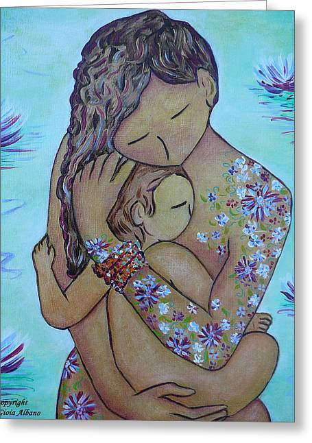 Motherhood Flowers All Over Greeting Card by Gioia Albano
