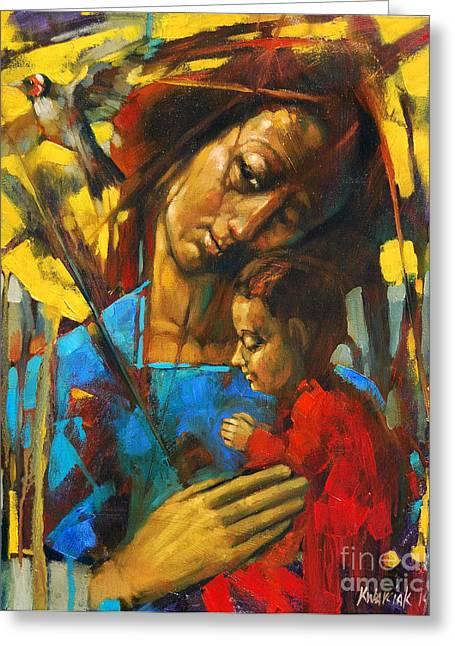 Motherhood Greeting Card by Michal Kwarciak