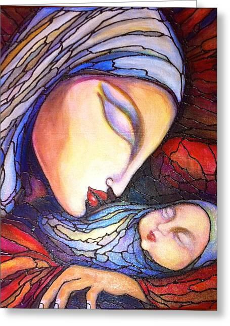 Motherhood Greeting Card by Rae Chichilnitsky