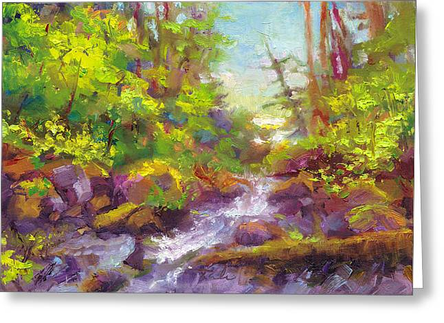 Mother's Day Oasis - Woodland River Greeting Card by Talya Johnson