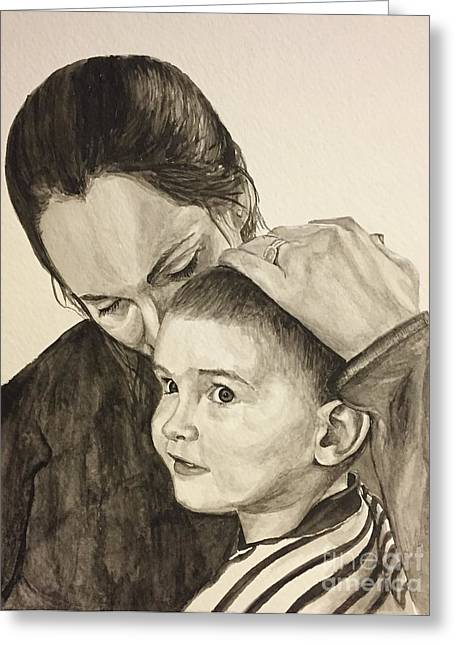 Greeting Card featuring the painting Mother's Love by Tamir Barkan