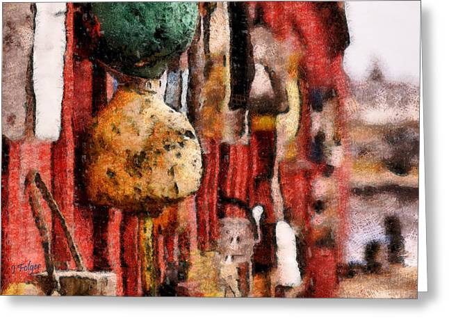 Motif Number 1 Buoys Greeting Card by Jeff Folger