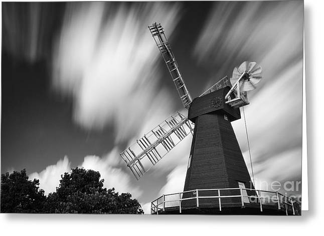 Motion And Windmills Greeting Card
