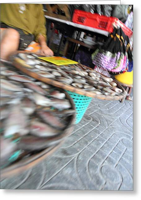 Motion Blurred Street Markets - Bangkok Thailand - 01131 Greeting Card by DC Photographer