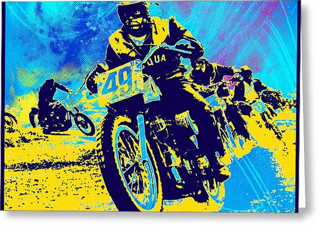 Moto Cross Greeting Card by Gary Grayson