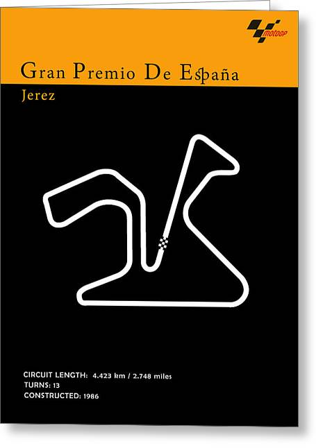 Moto Gp Spain Greeting Card by Mark Rogan